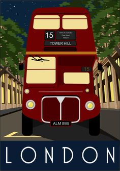 London Bus at Night - vintage travel poster - Pub Vintage, Photo Vintage, Vintage London, London Bus, Retro, London Poster, London Transport, London Travel, Travel Ad