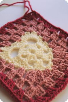 heart granny square by Vicki Brown I plan on using up some of my left over yarns. This should make an unusual and beautiful afghan.