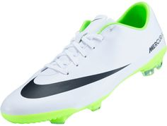 Nike Youth Mercurial Vapor IX FG Soccer Cleats- White and Electric Green...Available at SoccerPro Now!