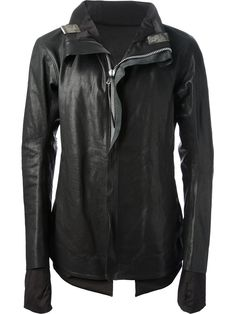 Black buffalo leather jacket from Boris Bidjan Saberi featuring a front zip fastening, fully lined, high neck collar with fold down metal clasps, extended sleeve lining with thumb holes, semi raglan shoulders and two front pockets.