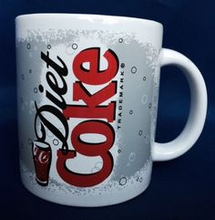 Diet Coke Mug Coffee Cup Coca-Cola Advertising Ceramic Red White 2003 Trademark #CocaCola
