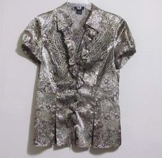 Spence Top Blouse women's size M poly spandex shiny animal reptile ruffle L17 #Spence #Blouse #CareerCasual