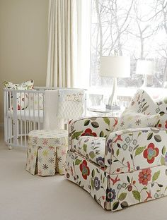 Interior designer Sarah Richardson's own nursery- can't imagine how baby or Mom would ever want to leave this space... beeootiful!