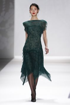 Love the length and mix of stripes and delicate lace. Tadashi Shoji RTW Fall 2012.