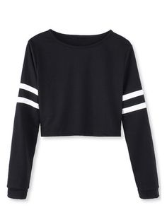 White Black Stripped Long Sleeve Short Crop Baseball Women T-Shirt