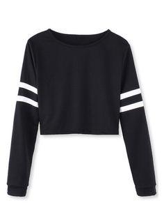 White Black Stripped Long Sleeve Short Crop Baseball Women T-Shirt