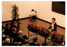 [McClintock giving speech at Nobel Conference]. Photographic Print. 1 Image. 8 December 1983.