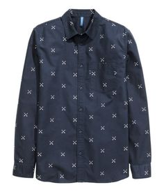 Dark blue long-sleeved shirt with chest pocket & printed pattern.│ H&M Divided Guys