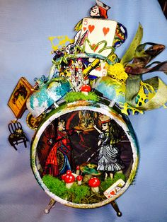My JuJu Crafts - My JuJu Crafts - Alice in Wonderland inspired Tim Holtz Assemblage Clock altered into a night light :D - Characters are Oxford Impressions rubber stamp images on cardstock embossed with Ranger Ink black UTEE