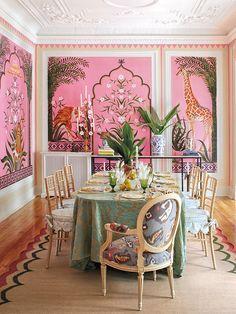 Room, Pink, Dining room, Interior design, Furniture, Wallpaper, Table, Design, Building, Tree,