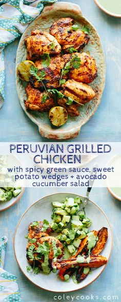 Hypoallergenic Pet Dog Food Items Diet Program This Recipe For Peruvian Grilled Chicken With Spicy Green Sauce, Sweet Potato Wedges Avocado Cucumber Salad Is A Healthy, Flavorful Summer Dinner.Paleo, Gluten Free, Dairy Free And Nut Free. Healthy Summer Dinner Recipes, Easy Summer Dinners, Summer Recipes, Healthy Recipes, Summer Chicken Recipes, Grilled Chicken Recipes, Marinated Chicken, Chicken With Avocado Recipes, Chicken And Sweet Potato Recipe Healthy