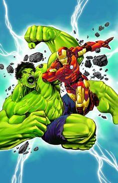 Banner Hulk vs Iron Man by Elliot Fernandez Hulk Avengers, Marvel Dc Comics, Marvel Heroes, Marvel Avengers, Spiderman, Hulk Vs Iron Man, Banner Hulk, Bruce Banner, Red Hulk