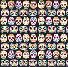 Sugar Skulls woop fabric by pinkupinkupinku on Spoonflower - custom fabric