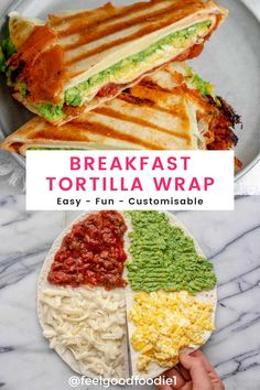 Wrap Recipes, Veggie Recipes, New Recipes, Cooking Recipes, Healthy Recipes, Breakfast Tortilla, Savory Breakfast, Healthy Breakfast Wraps, Delicious Sandwiches