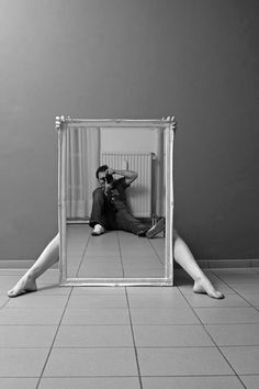 """Idea for me, Mirror sized to fit """"just"""" below standing torso and """"just"""" above chest, and get shot to line up with photog's clothed body. Not sure who I would get to shoot this or how to get my wife to let me shoot it?"""