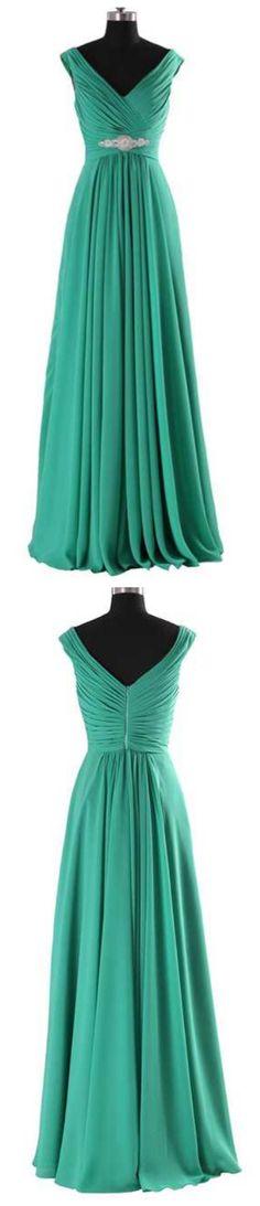 LOVELY V PLEATED BODICE EMPIRE WAIST FLOOR LENGTH DRESS FOR Chiffon Prom Dress/Bridesmaid Dress/Homecoming Dress Party Dress/Evening Dress