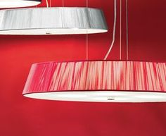 LILITH S 40 -  	Colorful suspension design highlighted by threading across the shade that create an illusional effect. Available in 3 diameters and 5 great colors : red , mocha , silver , black and white , all Lilith pendants have a frosted shield at bottom for light diffusion. Cable and cord suspension allow for height adjustment and ceiling canopy and bottom detail are in brushed nickel.