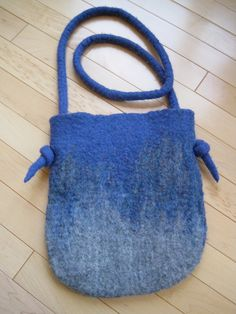 Blue and grey felted purse