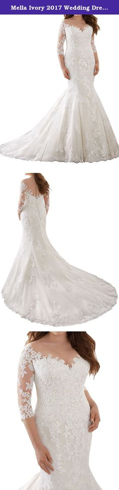 Mella Ivory 2017 Wedding Dress for Bride Fit and Flare V-neck Tulle 3/4 Sleeves Plus Size US26W. Mella 2017 Wedding Dress for Bride Fit and Flare V-neck Tulle 3/4 Sleeves This Classic Fit & Flare Wedding Gown Features Exquisite Alen?con and Venice Lace Appliques on Net. The Off-the-Shoulder Illusion Neckline and Three-Quarter Sleeves Add a Touch of Romance. Covered Button Back Detail and a Delicate Scalloped Hemline Complete the Look. Made to Measure Service (Limited Time Offer for Free):...