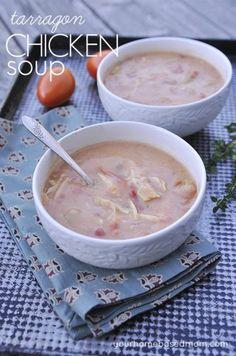 Tarragon Chicken Soup-  made it vegan,  no chicken,  used vegetable broth.  Added parnsips.