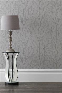 Pewter twigs wallpaper by Next. Bedroom or possibly lounge/diner.