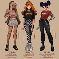 Anime Outfits, Grunge Outfits, Girl Outfits, Cartoon Outfits, Cute Art Styles, Cartoon Art Styles, Fashion Design Drawings, Fashion Sketches, Kleidung Design