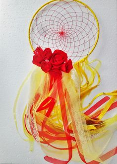 Roses dream catcher Floral dreamcatcher Red by SweetDreamsSparkle