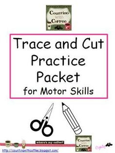 Trace and Cut Practice for . by Cyndy Guerrettaz Scissor Practice, Scissor Skills, Learning Activities, Teaching Resources, Physical Activities, Preschool Cutting Practice, Early Learning, Abc Learning, Gross Motor Skills