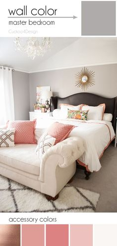 Creating a colorful home with neutral walls using copper, blush and light pinks in this bedroom styling Blush Bedroom, Grey Coral Bedroom, Glam Bedroom, Queen Bedroom, Home Interior, Interior Design, Simple Interior, Contemporary Interior, Neutral Walls