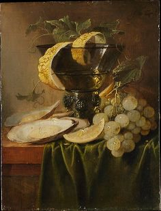 Jan Davidsz de Heem (Dutch, 1606–1683/84). Still Life with a Glass and Oysters, ca. 1640. The Metropolitan Museum of Art, New York. Purchase, 1871 (71.78) | De Heem's earliest paintings are precocious fruit pieces produced in his native Utrecht under the influence of Balthasar van der Ast. This panel of about 1640 is a simple paean to bacchic pleasure, and to textures and light.