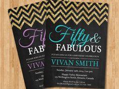 50th birthday invitation women. Glitter Glam Chevron Birthday