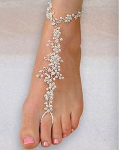 Bridal Wedding Jewelry Elegant Pearl Foot Jewelry - Barefoot Sandals for Weddings - Beach Wedding Accessories and Destination Wedding Accessories - Beach Wedding Jewelry, Beach Weddings, Beach Wedding Shoes, Wedding Sandals For Bride, Beach Shoes, Wedding Accessories For Bride, Bridal Sandals, Bridal Shoes, Cheap Beach Wedding