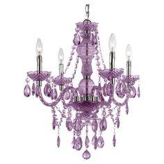 Vogue Mini Chandelier in Purple - great little chandelier for a little girl's room, a nursery, a bathroom, etc...