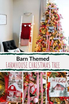Updating a farmhouse Christmas tree with ribbon.