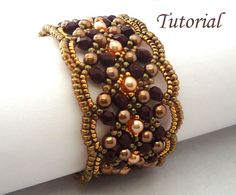 DIY - Tutorial Maroon Bracelet    Materials needed: Fire-polished beads 4mm,  Pearls 4 mm (2 colors),  Miyuki seed beads 11/0 and 15/0,  magnetic clasp,  FireLine 0.06 smoke or Nymo thread D.