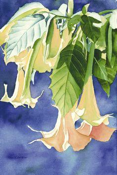 "Karen L. Bell Gallery  ""Trumpets Glowing"" Watercolor painting"