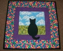 Colorful Cat in the Window Applique Mini Quilt/ Wall Hanging