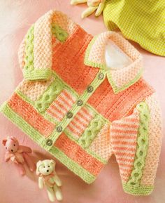 "Textured DK Baby Jacket Hearts Cables Stripes 16"" - 26"" Super Knitting Pattern 