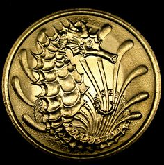 1980 SINGAPORE 10 Cents SEAHORSE COIN in Great Shape!