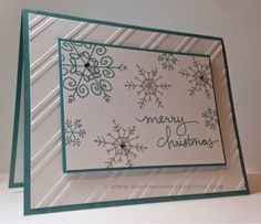 Christmas Card using Endless Wishes from the Stampin' Up! Lost Lagoon and Smoky Slate Stamped Christmas Cards, Homemade Christmas Cards, Stampin Up Christmas, Christmas Cards To Make, Noel Christmas, Xmas Cards, Homemade Cards, Holiday Cards, Christmas Snowflakes