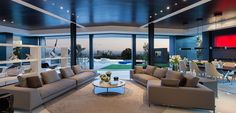 Laurel Way Residence: Contemporary living room design with impressive views