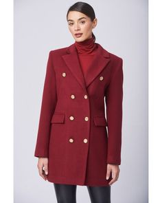 Ημίπαλτο σταυρωτό μπορντό.Έχει πέτο γιακά με δύο εξωτερικές τσέπες με καπάκι και σταυρωτό κούμπωμα με κουμπιά.Ελληνική ραφή. Faux Fur, Blazer, Coat, Jackets, Shopping, Fashion, Down Jackets, Moda, Sewing Coat
