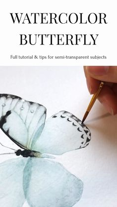 Watercolor Butterfly Tutorial - How to paint semi-transparent subjects with wat. - Watercolor Butterfly Tutorial – How to paint semi-transparent subjects with watercolor. This beautiful blue butterfly tutorial will – Watercolor Painting Techniques, Watercolor Video, Butterfly Watercolor, Watercolour Tutorials, Butterfly Art, Watercolor Paintings, Watercolor Artists, Watercolor Portraits, How To Draw Butterfly