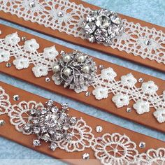 We love the look of rustic leather mixed elegant lace, so we made these Boho Chic Bracelets. You can raid your stash for the lace and rhinestone brooches!