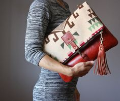 Southwestern Wool and leather bag Large Leather by VitalTemptation