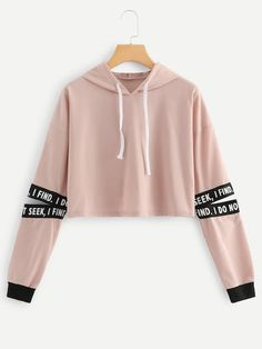 Black Friday Christmas Dotfashion Pink Letter Drawstring Hoodie Cut Out Sleeve Crop Sweatshirt Women Casual Autumn Clothing Hooded Long Sleeve Pullover Girls Fashion Clothes, Teen Fashion Outfits, Girl Outfits, Prom Outfits, Emo Fashion, Daily Fashion, Fashion Boots, Womens Fashion, Dress Outfits
