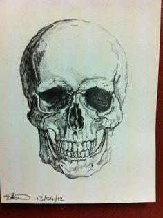 Skull/death design on paper, A5- Pencil