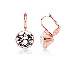 Bella Mini Drop Earrings with Clear Swarovski® Crystals Rose Gold Plated