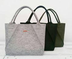 Handmade Grey Felt Tote Bags - Geometric Bag - Shopper Bag - Felt Shopper - Felt Shoulder Bag - Carry All Bag - Hand Bag - Gift