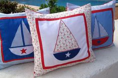 3 Nautical Pillows Appliqued Embroidered Sailing by BoutiqueDaf, $33.00